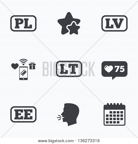 Language icons. PL, LV, LT and EE translation symbols. Poland, Latvia, Lithuania and Estonia languages. Flat talking head, calendar icons. Stars, like counter icons. Vector