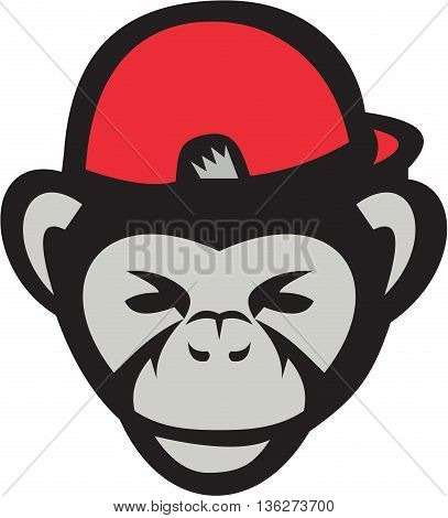 Illustration of head of a chimpanzee baseball player wearing baseball cap viewed from front set on isolated white background done in retro style.