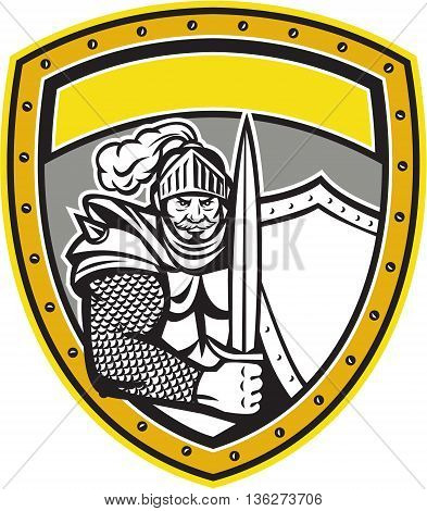 Illustration of a knight in full armor with open visor holding sword and shield viewed from the front set inside shield crest done in retro style.