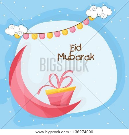 3D Crescent Moon with Gift on stylish background, Beautiful Greeting Card design for Islamic Holy Festival, Eid Mubarak celebration.