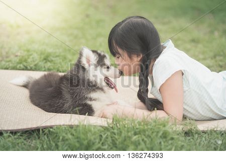 Beautiful asian girl playing with siberian husky puppy in the parkvintage filter