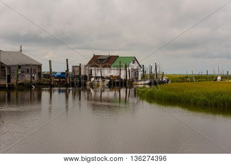 Photo of crabbing boats and dock in the NJ wetlands