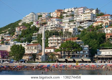 ULCINJ, MONTENEGRO - JULY 10, 2015: Ulcinj crowded beach