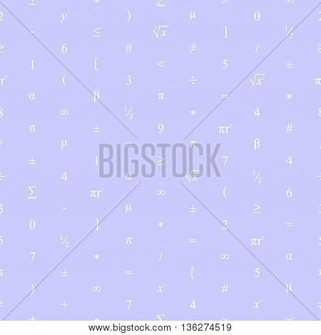 Vector Seamless Geometric Color Background. Mathematical Pattern Of White Numbers, Symbols And Figur