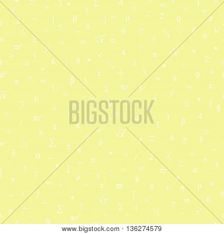 Vector Seamless Geometric Yellow Background. Mathematical Pattern Of White Numbers, Symbols And Figu