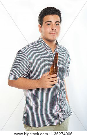 Young Guy With Bottle Of Beer