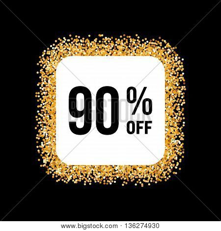 Golden Frame on Black Background with Discount Ninety Percent