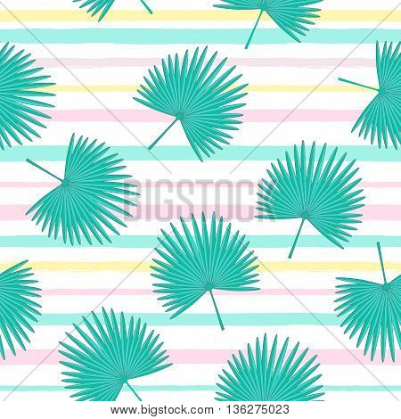 Vector seamless pattern with fan palm leaves . Tropical cute background with stripes. Textile fabric print