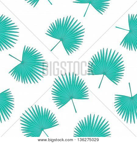 Vector seamless pattern with fan palm leaves . Tropical white background. Textile fabric print