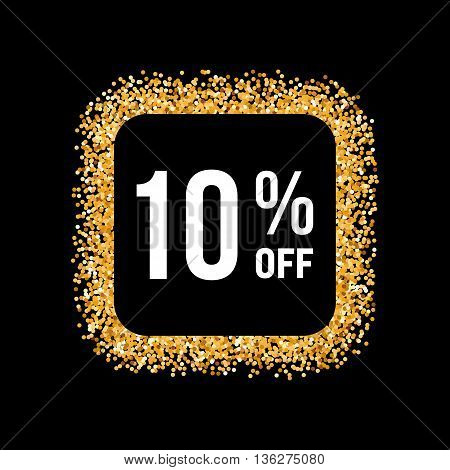 Golden Frame on Black Background with Text Ten Percent Off