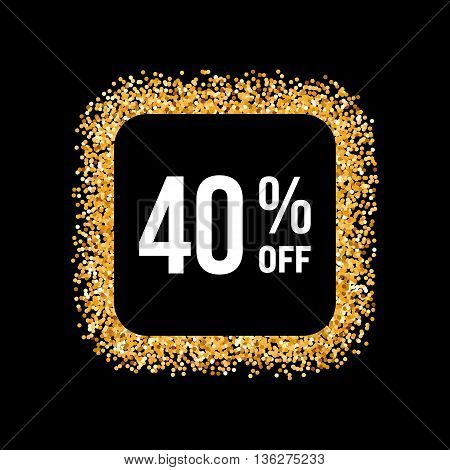 Golden Frame on Black Background with Text Forty Percent Off