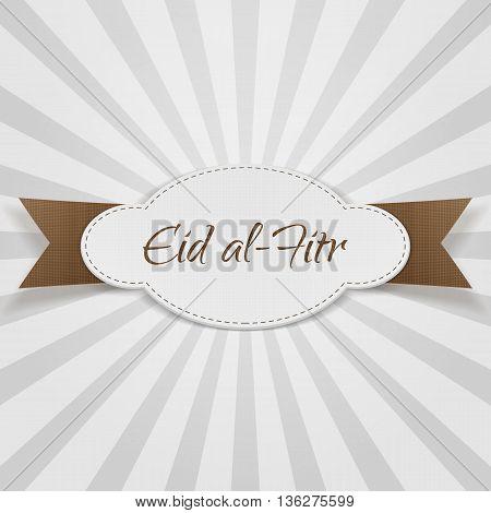 Eid al-Fitr decorative paper Badge. Vector Illustration