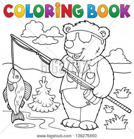 Coloring book bear fisherman theme 1 - eps10 vector illustration.