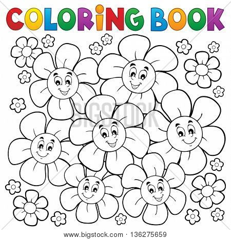 Coloring book with smiling flowers 1 - eps10 vector illustration.