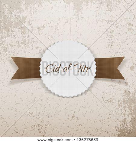Eid al-Fitr greeting paper Emblem. Vector Illustration