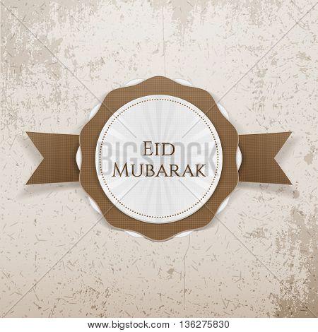 Eid Mubarak realistic greeting Badge. Vector Illustration