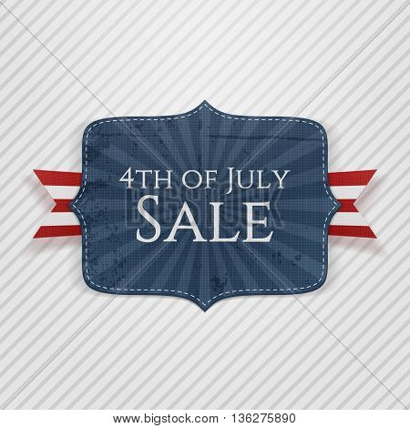 4th of July Sale realistic Emblem. Vector Illustration