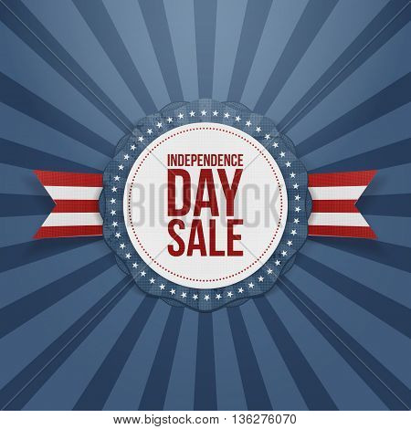 Independence Day Sale realistic Badge. Vector Illustration
