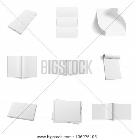 Realistic Mockups Set isolated on white Background. Magazines, Paper Sheets, Frames and Books. Vector Illustration