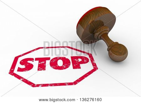 Stop Sign Stamp Warning End Round Red Ink Word 3d Illustration