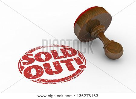 Sold Out Product Sellout Inventory Gone Stamp 3d Illustration