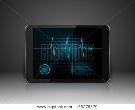 Tablet with heart cardiogram on screen, vector