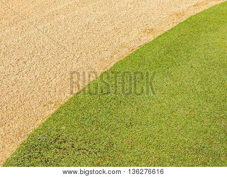 Difference of fresh green grass and dry in golf course use as background.