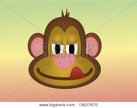 Cheeky Cartoon Monkey Licking His Lips