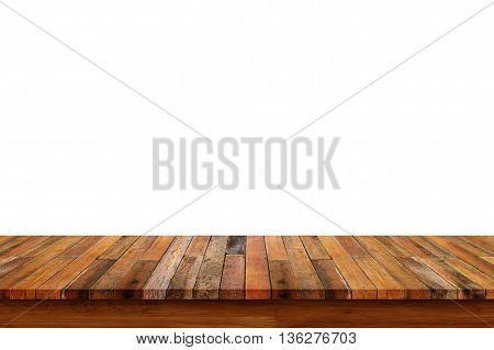 Empty old wooden table or counter isolated on white background. For display or montage your products.