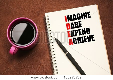 Idea Acronym - text on notebook with a pen and cup of coffee