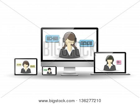 Female operator and customer support center. Desktop, laptop, smartphone, and tablet computer.