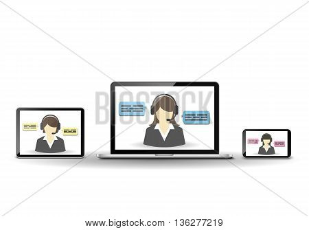 Female operator and customer support center. Laptop, smartphone, and tablet computer.