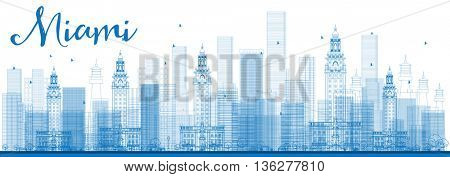 Outline Miami Skyline with Blue Buildings. Business Travel and Tourism Concept with Modern Buildings. Image for Presentation Banner Placard and Web Site.