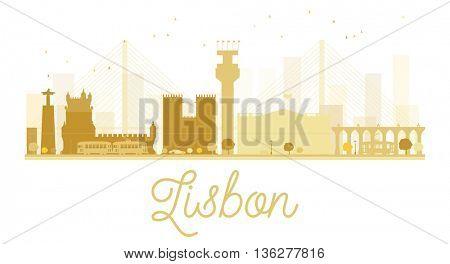 Lisbon City skyline golden silhouette. Simple flat concept for tourism presentation, banner, placard or web site. Cityscape with famous landmarks