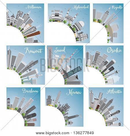 Set of 9 City Skyline with Copy Space. Skyline with World Landmarks. Melbourne. Hyderabad. Riyadh. Kuwait. Seoul. Osaka. Brisbane. Hanoi. Atlanta