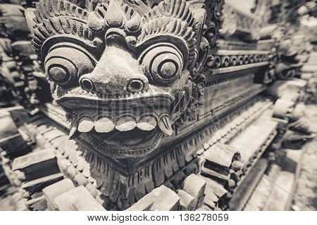 A stone carving of mythical hindu spirit named (Barong) who is believed to be king of the spirits leader of the hosts of good and enemy of Rangda in the mythological traditions of Bali