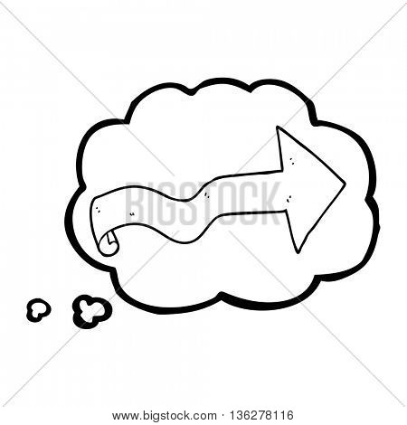 freehand drawn thought bubble cartoon arrow