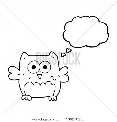 freehand drawn thought bubble cartoon owl
