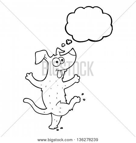 freehand drawn thought bubble cartoon dancing dog