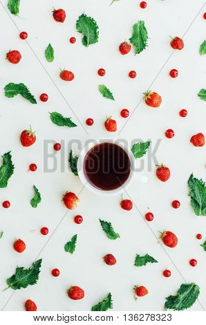 Colorful Mix Of Fruits On White Background. View From Above. Col