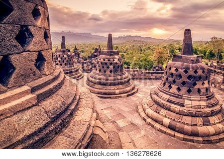 World hertiage site Borobudor situated in the special region of Yogyakarta Indonesia. It is estimated this site is over 1000 years old.