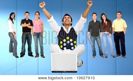 Casual man enjoying his online success and people behind