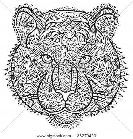 Tiger Head Zentangle Wildlife Vector Artwork Ornament