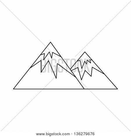 Swiss alps icon in outline style isolated on white background