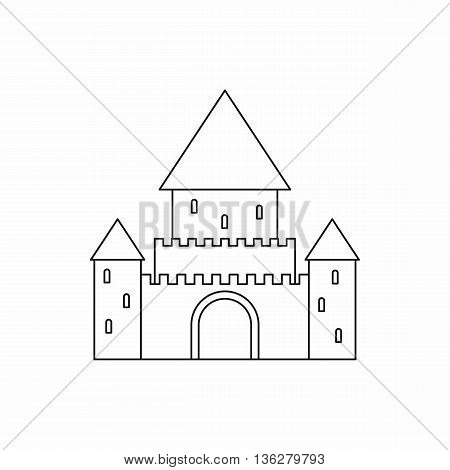 Chillon Castle, Switzerland icon in outline style isolated on white background