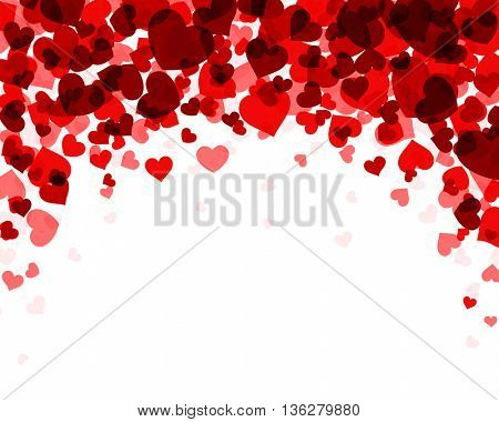 Romantic valentine background with red hearts. Vector paper illustration.