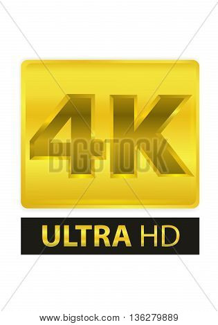 VECTOR 4K GOLD LABEL LOGO ON ISOLATED BACKGROUND