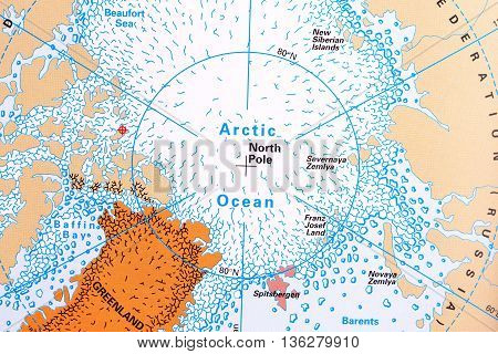 North Pole and Arctic Ocean map close up picture.