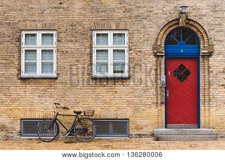Street, Door And Bike In Copenhagen