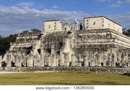Famous Chichen Itza feathered serpent pyramid Mexico